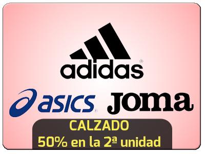 Oferta en Adidas, Joma y Asics con 50% de descuento en el 2º par